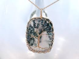 Tree Of Life Necklace - <b>Solid 14k Yellow Gold</b> - Cushion Cut ...