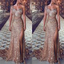 <b>2019 Women</b> Summer <b>Sexy</b> Party Night Dresses Elegant Gold ...