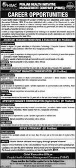 jobs in punjab health initiative managment company published in punjab health initiative managment company