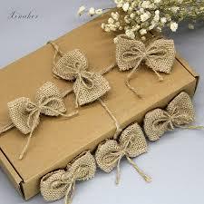 5/<b>10 pcs handmade</b> Natural <b>Jute Burlap Hessian</b> bowknot DIY craft ...