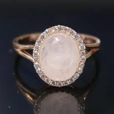 <b>Natural Rose Quartz</b> Moissanite Wedding Engagement Ring ...