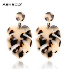 AENSOA <b>Leopard</b> Leaves <b>Earrings</b> For Women Fashion Personality ...