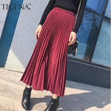 TIGENA Suede Pleated <b>Skirts Women Fashion 2019</b> Autumn Winter ...