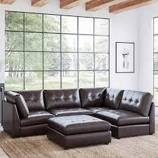 Calvin <b>5</b>-<b>piece</b> Top Grain Leather <b>Modular</b> Sectional Living Room Set