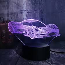 Novelty Cool <b>Modern</b> Feerrari Car 3D <b>LED Night Light</b> 7 Color ...
