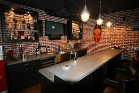 appealing bar in basement interior design ideas with exposed red filename brick wall accent and mounted architecture awesome kitchen design idea red