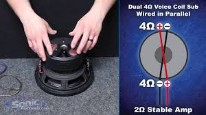 how to wire a dual ohm subwoofer to a ohm final impedance how to wire a dual 4 ohm subwoofer to a 2 ohm final impedance car audio 101