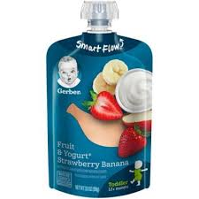 Gerber 3.5 Oz. Fruit And Yogurt <b>Smart Flow</b> Toddler Pouches With ...