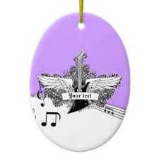 black white purple electric guitar with wings ceramic ornament ceramic purple black white