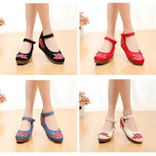 Women <b>Flowers Old Beijing</b> Embroidered Shoes Ethnic China Floarl ...