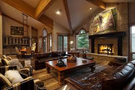 fascinating craftsman living room chairs furniture: craftsman living room with leather furniture and cathedral ceiling
