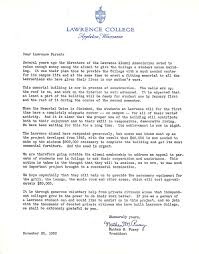 nathan pusey letter to lawrence parents lawrence university archives original file