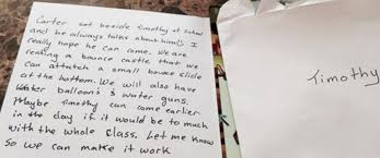mom moved to tears by birthday party invitation sent home her photo tricia klein said reading the note was a wonderful moment