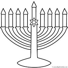 Menorah with Happy Hanukkah - Coloring Page (Hanukkah)