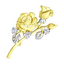 <b>Брошь SOKOLOV из желтого</b> золота с фианитами | www.gt-a.ru