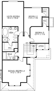 Northwest House Plan for Narrow Corner Lot   JD   nd Floor    Reverse Floor Plan Pinit white