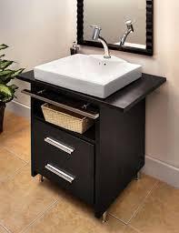 vanity small bathroom vanities: modern small bathroom vanity with black cabinets feat cool sink faucet plus orange floor tile ideas