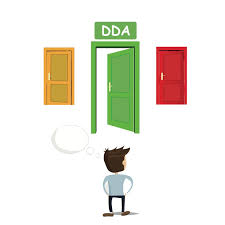 applying for dd services informing families man standing before three doors the middle door has a sign that reads dda