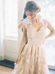 Boutique <b>Champagne Tulle Appliques</b> Lace V-neck Sweep Train ...