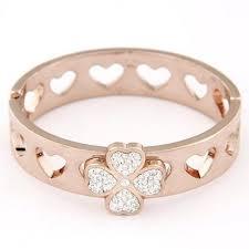 Peterbilt Rose Gold <b>Clover Shape</b> Decorated Simple Design Alloy ...