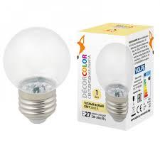 <b>Лампа</b> светодиодная <b>LED</b>-<b>G45</b>-<b>1W</b>/<b>3000K</b>/<b>E27</b>/<b>CL/С</b> Теплый ...