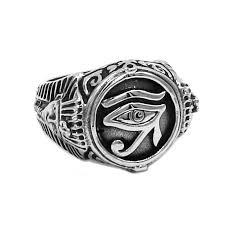 <b>Egyptian</b> Eye of Horus Ra Udjat Amulet Ring <b>Stainless Steel Egypt</b> ...
