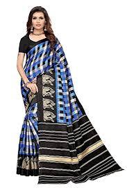 Buy J B <b>Fashion</b> Silk with Blouse Piece Saree (Square Checks-<b>Navy</b> ...