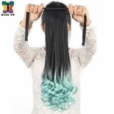 <b>HAIR SW long Wavy</b> High Temperature Sythetic Tie Up ponytail clip ...