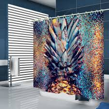 Abstract Creative Pineapple Pattern Print Shower Curtain | Gearbest ...