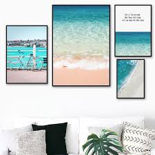 Pink Beach <b>Blue Sea</b> Forest Landscape Canvas <b>Nordic Posters</b> ...