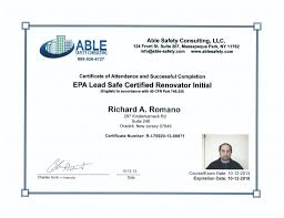 qualifications and certifications safe at home testing rich r o lead safe