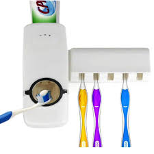 <b>Automatic Toothpaste Dispenser</b> with Toothbrush holder - Blue ...