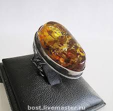 Изящное овальное кольцо. <b>Серебро</b>. <b>Янтарь</b> – купить или ...