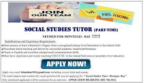 jobs postings caribbean social studies tutor part time in thursday 1 2016