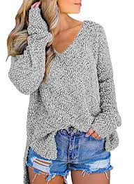 FIYOTE <b>Womens</b> Casual <b>V Neck</b> Long Sleeve Chunky Slit Knit ...