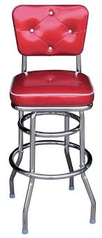 <b>Retro style</b> chrome <b>bar stool</b> with <b>decorative</b> tufted backrest. We can ...