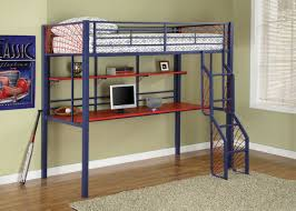 creative blue bunk bed design inspiration with red study table white open shelf home interior built in study furniture