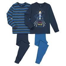 Комплект из <b>2 пижам</b> из биохлопка, 3-12 лет синий + темно ...