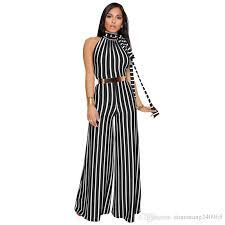 2018 Summer Halter Sleeveless <b>Stripes Print Rompers Womens</b> ...
