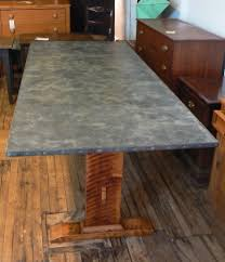 images zinc table top: more images hf end of zinc top trestle table x