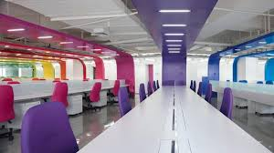 modern office interior design with bright color decorating bright office