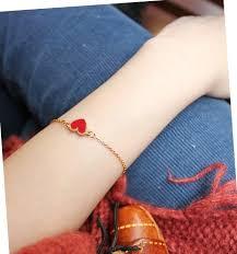Charming Red <b>Heart</b> Bracelets & Bangles For <b>Women Girls</b> Gold ...