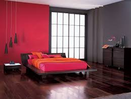 bedroom design red contemporary wood: charming modern bedroom furniture with brown cabinets design plus red brown wall color painting also wood