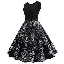 black flower dress women sundress mini round neck quality top elastic waist plain fashion beach casual