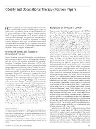 obesity and occupational therapy position paper american first page pdf preview