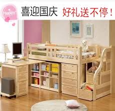 cheap korean pine wood crib fence bed childrens furniture bed desk combination of stepping bed bed and desk combo furniture