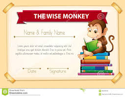 certification template for students excellent work stock certification template monkey reading books royalty stock image