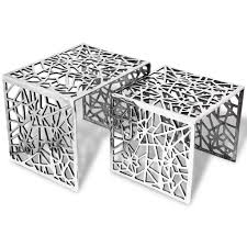 Garden & Outdoors vidaXL <b>Two Piece Side Tables</b> Square ...