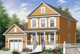 House plan W detail from DrummondHousePlans comfront   BASE MODEL Narrow lot  store bedroom   garage and walk