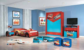 wonderful blue red wood unique design boy bedroom ideas wall paint car shape bed cabinet tv bedroom furniture beautiful painting white color